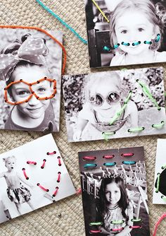 Turn favorite photos into a fun set of DIY lacing cards. Theres nothing she loves more than PHOTOS! What a clever way to involve Lacing Cards!