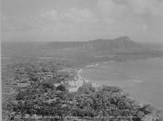 Waikiki and Diamond Head, 1934. You can see the Royal Hawaiian and the Moana Surfrider, Waikiki's first hotels.