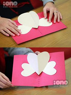 valentine pop up cards: easy heart card tutorial material: valentine handmade card. Valentine's Day Gift Baskets – Valentine's Day Tips Pop Up Valentine Cards, Valentines Day Cards Handmade, Valentine Crafts For Kids, Pop Up Cards, Valentines Diy, Holiday Crafts, Stampin Up Anleitung, Heart Cards, Heart Pop Up Card