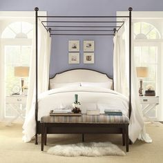 INSPIRE Q Andover Cream White Curved Top Cherry Brown Metal Canopy Poster Bed - Overstock™ Shopping - Great Deals on INSPIRE Q Beds