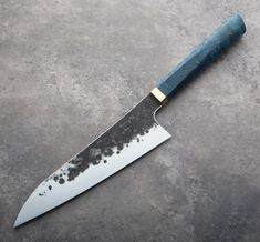 Buckeye Burl Forged Chef Knife handmade by James Oatley. Global Knives, Global Knife Set, Japanese Cooking Knives, Knife Making Tools, Trench Knife, Buckeye Burl, Electric Knife, German Kitchen, Hobbies For Men