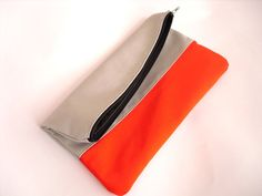 Clutch purse Fold over Neon Orange and Grey Color Block by byMART, $23.00