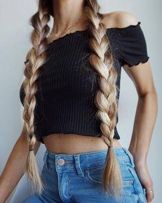 Love these long dutch braids. @milouvollebregt