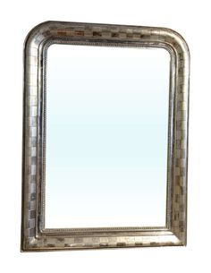 Pair of Silver Gilt Mirrors Louis Philippe Checker Design | From a unique collection of antique and modern wall mirrors at https://www.1stdibs.com/furniture/mirrors/wall-mirrors/