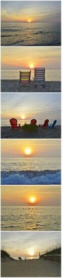 Outer Banks NC Local Artists Facebook post 7/22/14:  OBX Sunrise.  Photographer credit: Barbara Ann Jump-Bell.  Pinner used PhotoGrid to.put shots in a file strip to post. No editing done.  1 of 2.