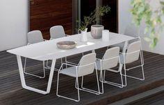 Manutti Air Dining Table - 264 x 113 - (White Frame with White Ceramic) - Air - Manutti - Garden Furniture Outdoor Tables And Chairs, Outdoor Dining Furniture, Patio Table, Garden Furniture, Outdoor Living, Cane Furniture, Garden Table, Patio Dining, Outdoor Seating