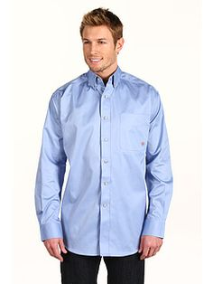 Ariat Solid Twill Shirt  |  stand-up button-down collar, rounded corner with points in stitching (sleeves too long?)