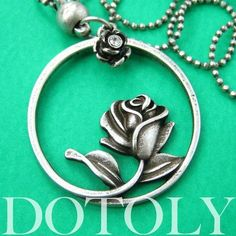 Beauty and the Beast Inspired Rose Round Pendant Necklace Silver #disneyjewelry