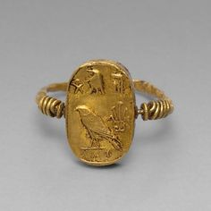 Egyptian, Finger Ring with the Goddess Isis and Her Child, the God Horus