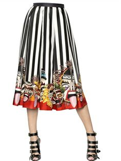 PRINTED SILK TWILL SKIRT with masks. Dsquared. Can't decide whether this makes me laugh or cry.