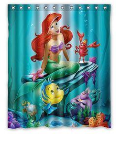 Disneyu0027s Ariel The Little Mermaid Design Shower Curtain