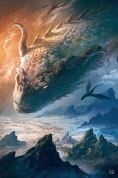 Flight of Dragons by artist Rob Joseph. Epic Art, Amazing Art, Fantasy Creatures, Mythical Creatures, Sea Creatures, Fantasy Dragon, Fantasy Art, Joseph, Big Dragon