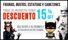 Nuestra categoría más importante, todas las Figuras, Estatuas, Bustos y Cabezones de la web con más de 8000 productos esta en oferta un 15% durante solo dos días. ¡Aprovéchalo! http://www.vistoenpantalla.com/figuras-bustos-estatuas-cat-1/   Salud@s, Jordi