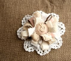 burlap and lace flower and vintage button