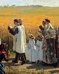 One of my favourite paintings.Blessing of the Wheat Fields by Jules Breton Religious Images, Religious Art, Catholic Art, Roman Catholic, Images Of Faith, Rennaissance Art, Realism Art, Blessed Mother, Christian Art