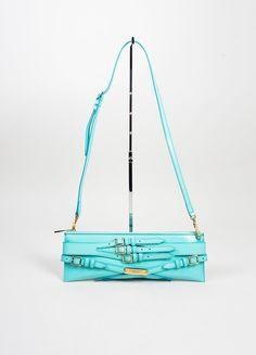 """Aqua Blue Burberry Prorsum Patent Leather Strap """"Bridle"""" Shoulder Clutch Bag"""