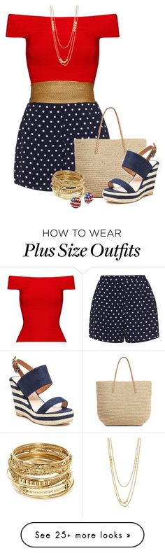 """patriotic or Wonder woman????? lol"" by bila-bee on Polyvore featuring Posh Girl, Zizzi, Alice + Olivia, Target, French Blu, ABS by Allen Schwartz and Gorjana"