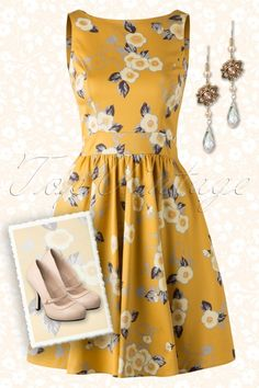 Lady V by Lady Vintage - 50s Floral Tea Dress in Yellow