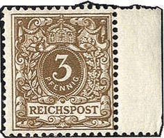 Philasearch.com - German Empire, 1889 crown and eagle, Michel 45 a - 3 Pfg. yellow brown from right margin of sheet overprinting in perfect condition **, expertized at best Zenker. Michel 400,- €.  Lot condition **  Dealer Götz Int. Auktionshaus  Auction Starting Price: 100.00 EUR