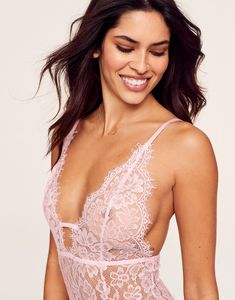 """Whether you're a blushing bride-to-be or just love lace—say """"I do"""" to our favorite sweet-meets-sexy, open-back bodysuit. Bra And Panty Sets, Wedding Night, New Face, Corset, Camisole Top, Bodysuit, Bride, Tank Tops, Lace"""