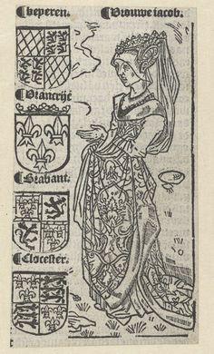 Anonymous | Jacoba van Beieren, Anonymous, 1517 | Jacoba ten voeten uit met wapenschilden van Beieren, Frankrijk, Brabant en Gloucester,