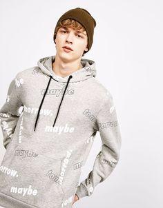 Hooded sweatshirt printed MAYBE TOMORROW on it. High QUALITY Hooded sweatshirt, Printed Hoodie.