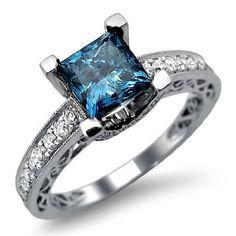 I really love these blue diamonds!!  Amazon.com: 1.90ct Princess Cut Blue Diamond Engagement Ring 18k White Gold: