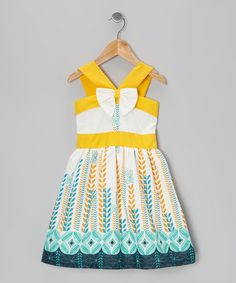Take a look at this White & Yellow V-Strap A-Line Dress - Infant, Toddler & Girls by Dreaming Kids on #zulily today!