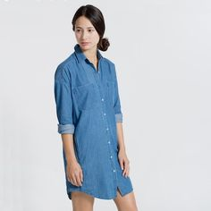 This contemporary, but oversized easy fit, is a dream for an easy weekend option in the softest chambray denim. It even has on-seam pockets - perfect to throw in a few dollars and your keys, when you run out the door. Wear it with sneakers, gladiator sandals, or flip flops.