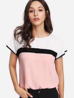 Looking for ROMWE Women's Summer Triple Color Block Blouse Loose Fit Casual Teen Top Tshirt ? Check out our picks for the ROMWE Women's Summer Triple Color Block Blouse Loose Fit Casual Teen Top Tshirt from the popular stores - all in one. Shirt Bluse, Woman Outfits, Types Of Sleeves, Blouses For Women, Ladies Blouses, Women's Blouses, Color Blocking, Tunic Tops, Skinny