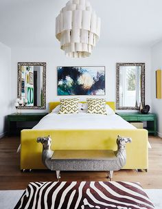 Richly colored rooms jazzed up with loud patterns, lush textures and juxtaposing shapes are the fundamentals of maximalist design. Parisian Bedroom, Modern Bedroom, Bedroom Decor, Master Bedroom, Bedroom Inspo, Bedroom Ideas, Bungalow, Velvet Upholstered Bed, Romantic Living Room