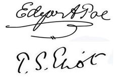 Famous Authors' Signatures: Edgar Allan Poe and T. S. Eliot