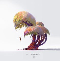 random trees to get my head clear after work, Lip Comarella on ArtStation at https://www.artstation.com/artwork/random-trees-to-get-my-head-clear-after-work