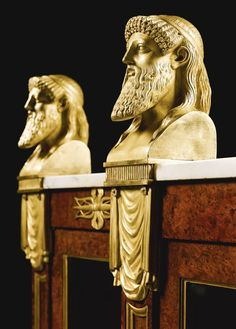 BACCHUS MASKS DETAIL OF ROYAL REGENCY BREAFRONT BOOKCASE, 1806, ormolu-mounted burr-yew, supplied to George, Prince of Wales for Carlton House, London, by Marsh and Tatham