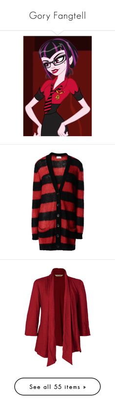"""""""Gory Fangtell"""" by darklinghatter ❤ liked on Polyvore featuring tops, cardigans, sweaters, brick red, stripe cardigan, v neck long sleeve top, mohair cardigan, striped long sleeve top, long sleeve tops and jackets"""