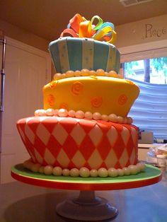 Rainbow Flowers | Topsy Turvy Wedding cake
