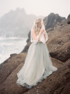 Grey tulle wedding gown