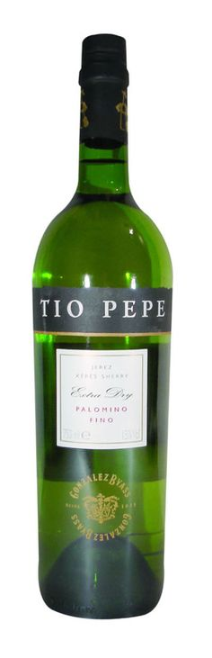 Spanish wine Tio Pepe Fino Jerez-Sherry DO. 100% Palomino Fino. A pale straw colour. Delicate aroma (nutty). Sharp in the mouth, without acidity, very dry and light on the palate. Very aromatic dry, crisp and smooth drink with intense flavor and mineral notes that does brilliantly as an aperitif and is enjoyed by many with the meal too. International Wine Challenge. Gold Medal 2005. International Wine Challenge Silver Medal 2006. Bacchus Gran Bacchus de Oro 2010. €7.50