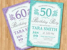 60th Birthday Invitation for women. Purple, Tiffany Blue, any color. Adult birthday party. 30th 40th 50th 60th any age. Printable Digital.  $10