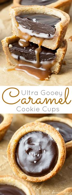 Gooey Caramel Cookie Cups - Chewy cookie cups loaded with gooey caramel and topped with a silky dark chocolate ganache.