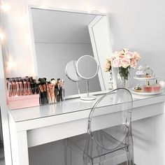 Clean, bright and white vanity. Organized makeup storage ideas.