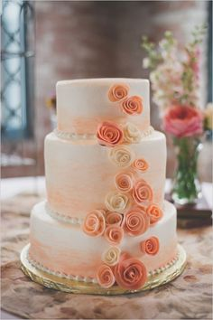 Peach and White rose cake by Sweet-Em's Cake Shoppe