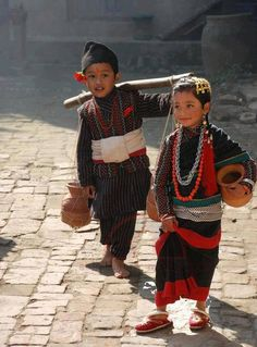 Nepali kids in theirs Newari cultural dress