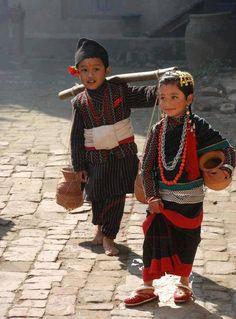 Nepali kids in theirs Newari cultural dress