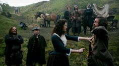 Caitriona Balfe as Claire, Stephen Walters as Angus Mhor....Claire learning to use a dirk. Ep 108
