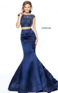 Sherri Hill 50956 Mermaid Two Piece Beads Satin Prom Dress 2017