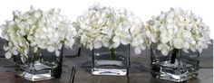 White Hydrangea Centerpiece. Additional accents will be added.