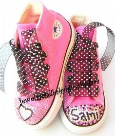 Baby Bling Infant Toddler Converse Swarovski Crystal PINK AND BLACK HEART  PERSONALZIED NAME Pink Converse All Star Sneakers Shoes cd191abc38