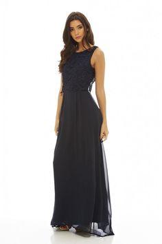 AX Paris Womens Navy Crochet Overlay Maxi Dress Glamorous Stylish Fashion