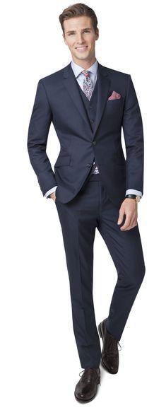 Aldgate Slim Fit tmavě modrý oblek s vestou